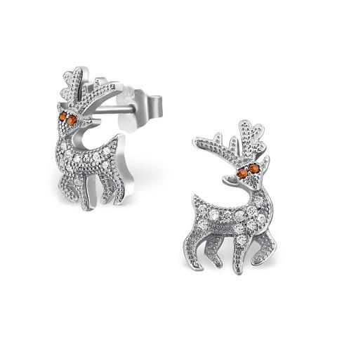 Hopeiset korvanapit, Winter Reindeer Ear Studs with Cubic Zirconia