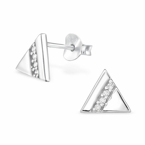 Hopeiset korvanapit, Triangle Ear Studs with Cubic Zirconia