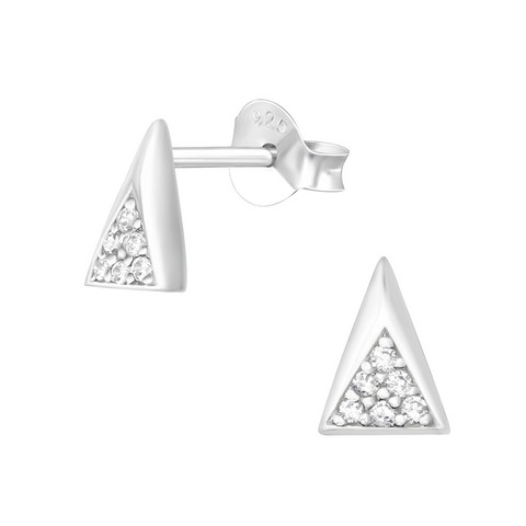 Hopeiset korvanapit, Narrow Triangle Ear Studs with Cubic Zirconia