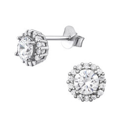 Hopeiset korvanapit, Romantic Round Earrings with Cubic Zirconia
