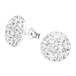Hopeiset korvanapit,  Large Ear Studs with Crystals