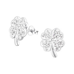 Hopeiset korvanapit, Large Glover Ear Studs with Crystals