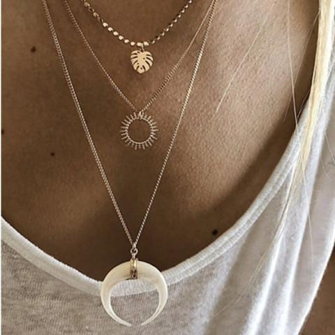 Kerroskaulakoru, FRENCH RIVIERA|Sun Layer Necklace in Gold
