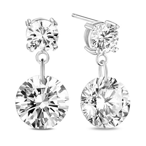 Hopeiset korvakorut, Classic Round Earrings with Cubic Zirconia