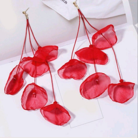 Korvakorut, FRENCH RIVIERA Extra Long Red Flower Earrings