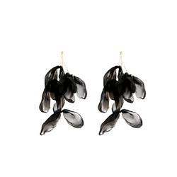 Korvakorut, FRENCH RIVIERA|Long Black Flower Earrings