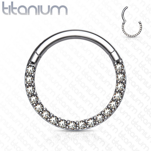 Lävistysrengas, Front Facing Titanium Hinged Hoop Rings with CZ