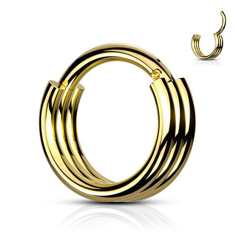Lävistysrengas, 1,2mm Triple Layered Hoop Segment Clicker Ring in Gold