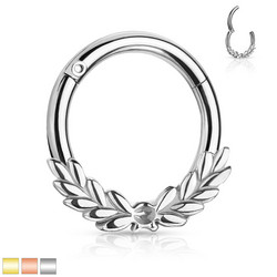 Lävistysrengas, Laurel Leaves Front Hinged Hoop Rings