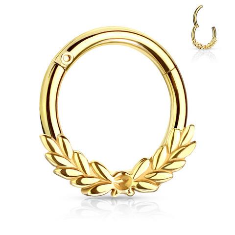 Lävistysrengas, Laurel Leaves Front Hinged Hoop Rings in Gold