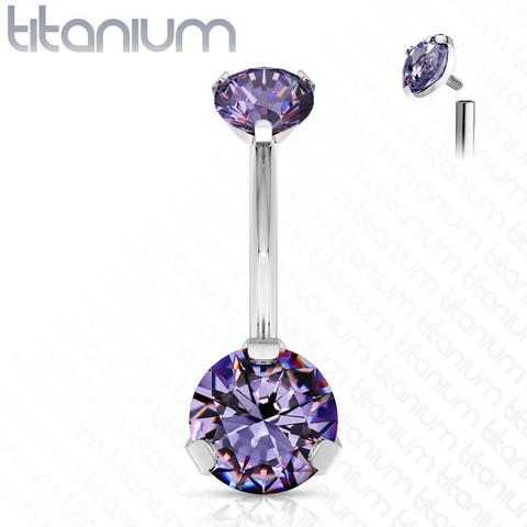 Napakoru,Titanium Prong Set Round CZ in Light Purple