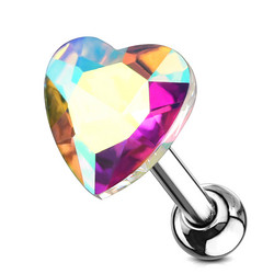 Rustokoru/traguskoru, Heart Crystal Top in Aurora Borealis