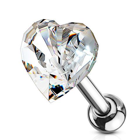 Rustokoru/traguskoru, Heart Crystal Top in Clear