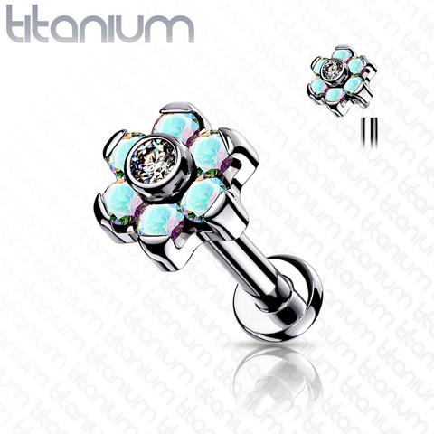 Rustokoru/traguskoru, Titanium CZ Set Flower Top in AB