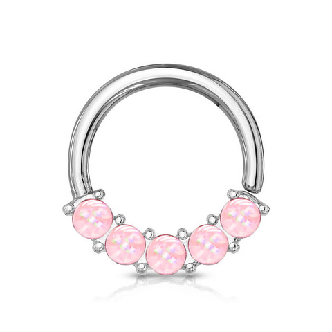 Lävistysrengas 1,2mm, Illuminating Front Facing Hoop Ring in Pink