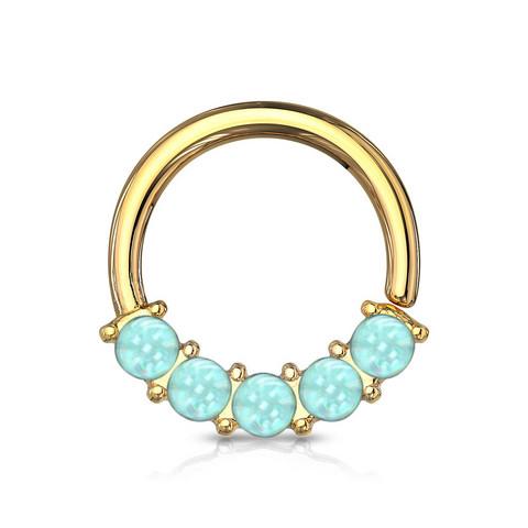 Lävistysrengas 1,2mm, Illuminating Front Facing Ring in L.Blue/Gold