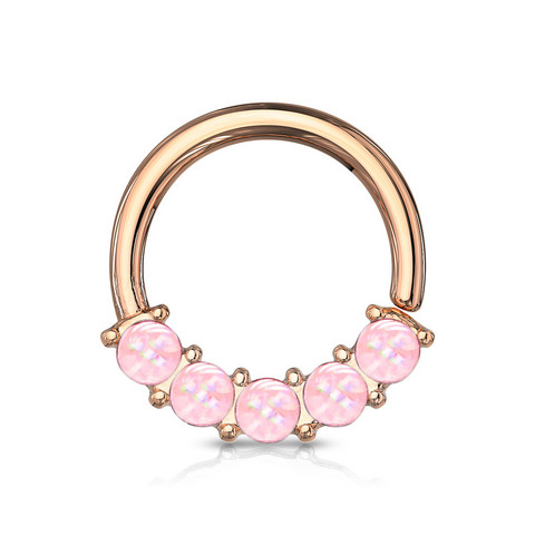 Lävistysrengas 1,2mm, Illuminating Front Facing Ring in Pink/R.Gold