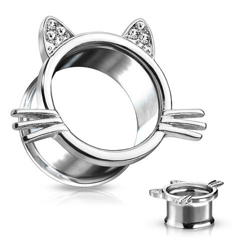 Tunneli 10mm, Cat With Whiskers 316L Surgical Steel