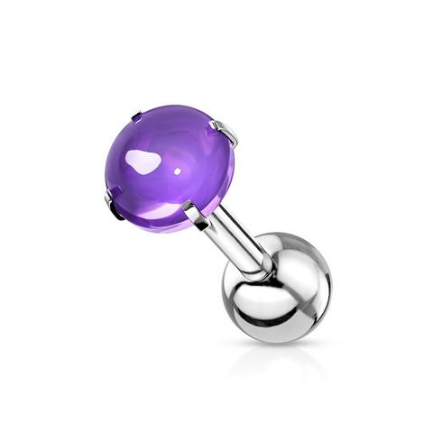 Rustokoru/traguskoru, Prong Set Zircon Cabochon Stone in L. Purple