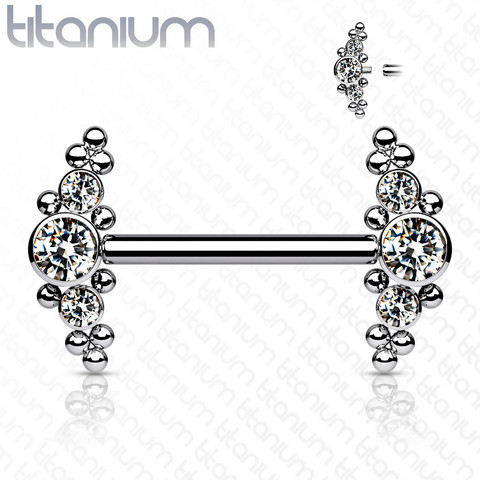 Nännikoru, Implant Grade Titanium Nipple Barbells with Bezel Set CZ