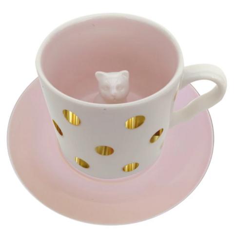 Kahvikuppi, House of Disaster|Spotty Cat Cup -pilkullinen kissakuppi