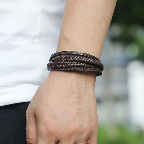 Keinonahkainen rannekoru, Multilayer Brown Faux Leather Bracelet