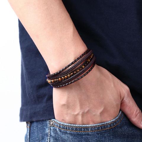 Keinonahkainen rannekoru, Brown Tiger Eye Faux Leather Bracelet