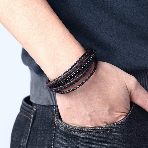 Keinonahkainen rannekoru, Black Natural Stone Faux Leather Bracelet