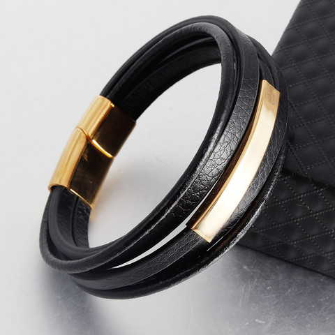 Keinonahkainen rannekoru, Faux Leather Bracelet with Gold Details