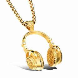 Kirurginteräsriipus, XL Streetstyle Headphone Necklace in Gold