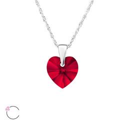 Hopeinen kaulakoru, LA CRYSTALE, Heart in Red