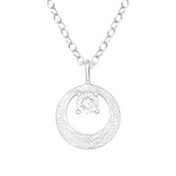 Hopeinen kaulakoru, Elegant Silver Necklace with CZ