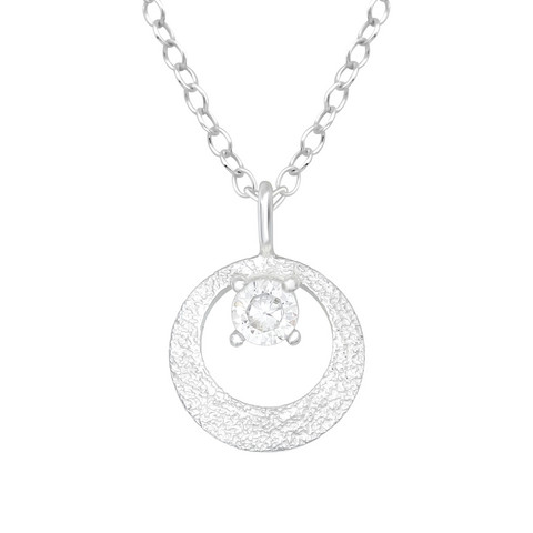 Hopeinen kaulakoru, Elegant Silver Necklace with CZ