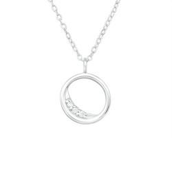 Hopeinen kaulakoru, Elegant Round Silver Necklace with CZ