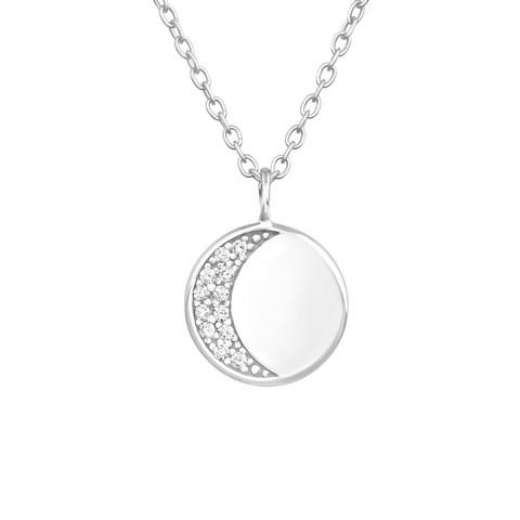 Hopeinen kaulakoru, Classic Round Silver Necklace with CZ