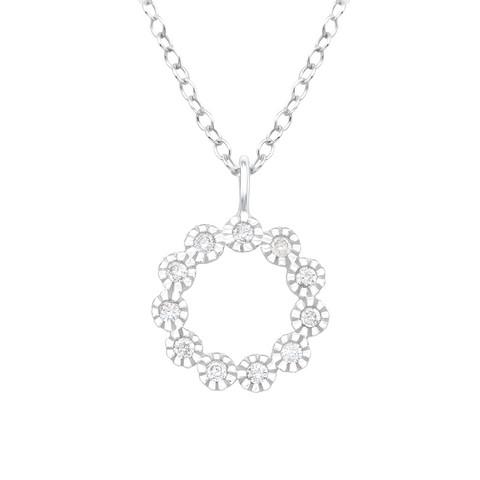Hopeinen kaulakoru,  Round Mini Flower Silver Necklace with CZ