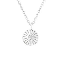 Hopeinen kaulakoru,  Modern Mini Flower Silver Necklace with CZ