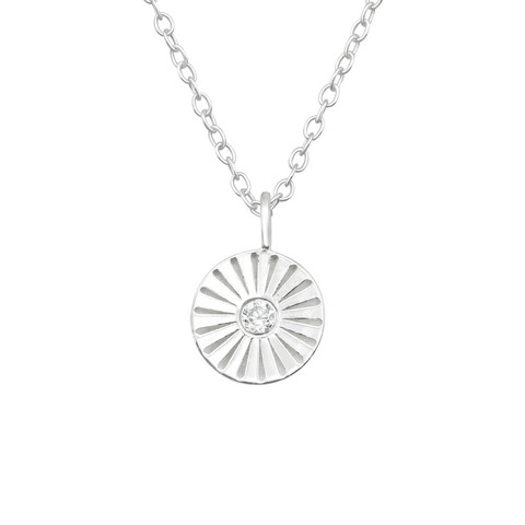 Hopeinen kaulakoru,  Modern Mini Flower Silver Necklace with CZ
