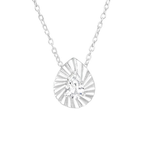 Hopeinen kaulakoru, Modern Tearpdrop Silver Necklace with CZ