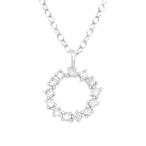 Hopeinen kaulakoru, High Quality Round Silver Necklace with CZ