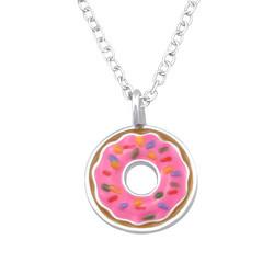 Lasten hopeinen kaulakoru, Pink Donut -pinkki donitsi