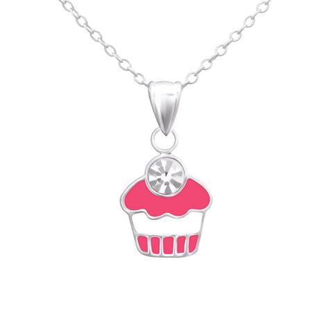 Lasten hopeinen kaulakoru, Pink Cup Cake -pinkki muffinssi