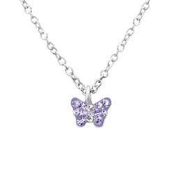 Lasten hopeinen kaulakoru, Purple Butterfly -vaaleanliila perhonen