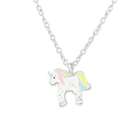 Lasten hopeinen kaulakoru, Pastel Unicorn -pastelli yksisarvinen