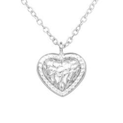 Hopeinen kaulakoru, Small Rustic Heart -taottu hopeinen sydän