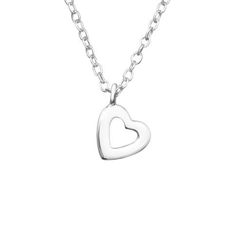 Hopeinen kaulakoru, Small Simple Heart -yksinkertainen hopeinen sydän