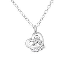 Hopeinen kaulakoru, Romantic Double Heart -romanttinen tuplasydän