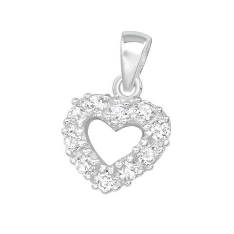 Hopeinen riipus, Romantic Heart Pendant CZ -romanttinen CZ sydänriipus