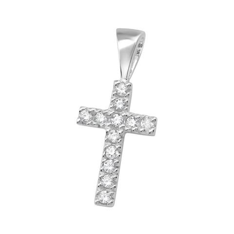 Hopeinen riipus, Small Silver Cross with CZ  -pieni CZ hopearisti