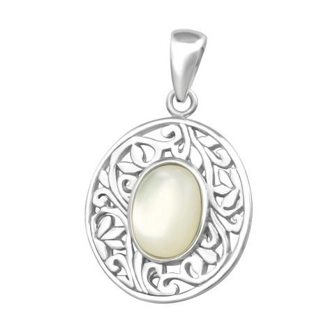 Hopeinen riipus, Romantic Oval Pendant  -romanttinen ovaali riipus
